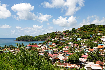 The small town of Canaries, with Canaries Bay beyond, St. Lucia, Windward Islands, West Indies Caribbean, Central America