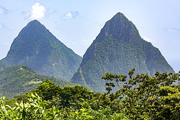 The Two Pitons, UNESCO World Heritage Site, near Soufriere, St. Lucia, Windward Islands, West Indies Caribbean, Central America