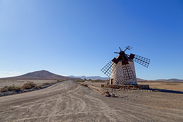 Molino de Tefia on the volcanic island of Fuerteventura, Canary Islands, Spain, Atlantic, Europe