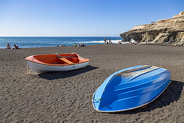Small fishing boats on Playa Ajuy on the volcanic island of Fuerteventura, Canary Islands, Spain, Atlantic, Europe