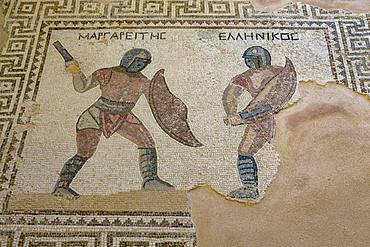 Mosaic in the House of the Gladiators in Kourion Archaeological Site in southern Cyprus, Mediterranean, Europe