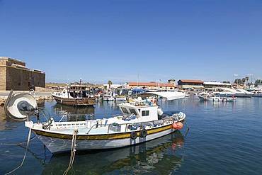 Traditional fishing boats moored in Paphos harbour, southern Cyprus, Mediterranean, Europe