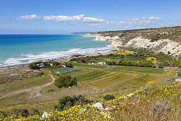 Kourion Beach and cliffs at Episkopi Bay in southern Cyprus, Mediterranean, Europe