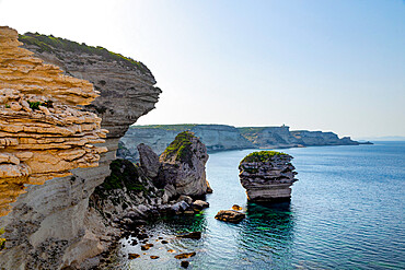 Cliffs on the rugged coastline near the town of Bonifacio on the Mediterranean island of Corsica