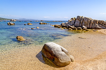 Beautiful eroded rocks at Plage de San Giovanni, Corsica, France, Mediterranean, Europe
