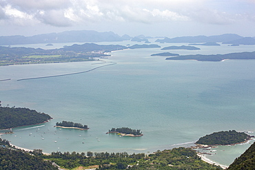 Islands off the coast of Langkawi seen from the mountains, Malaysia, Southeast Asia, Asia
