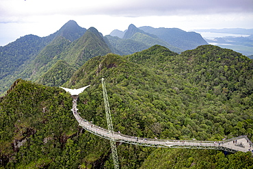 The Langkawi Sky Bridge, a 125 metre curved footbridge high above the rainforest canopy, Langkawi, Malaysia, Southeast Asia, Asia