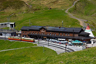 Railway Station, Kleine Scheidegg, Bernese Oberland, Swiss Alps, Switzerland, Europe