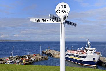 Famous multi directional signpost, John O'Groats, Caithness, Highland Region, Scotland, United Kingdom, Europe