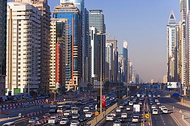 Sheikh Zayed Road, traffic and new high rise buildings along Dubai's main road, Dubai, United Arab Emirates, Middle East