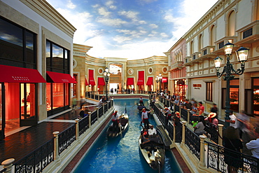 he Grand Canal Gondola Ride at the Venetian Resort Hotel Casino, Las Vegas, Nevada, United States of America, North America