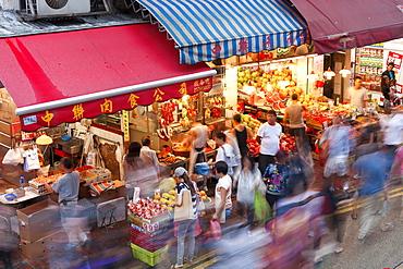 Busy Market Street, Wan Chai, Central District, Hong Kong Island, Hong Kong, China, Asia