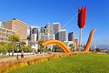 Bow and Arrow Sculpture in Rincon Park, Embarcadero, San Francisco, California, United States of America, North America