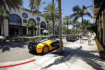 Luxury car parked on Rodeo Drive, Beverly Hills, Los Angeles, California, United States of America, North America