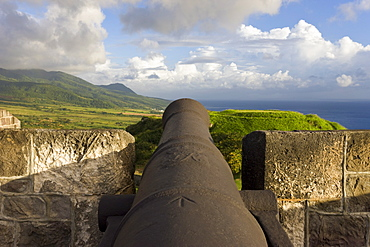 Brimstone Hill Fortress, 18th century compound, lined with 24 cannons, largest and best preserved fortress in the Caribbean, Brimstone Hill Fortress National Park, UNESCO World Heritage Site, St. Kitts, Leeward Islands, West Indies, Caribbean, Central America