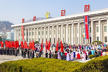 Celebrations on the 100th anniversary of the birth of President Kim Il Sung on April 15th 2012, Pyongshong, satellite city outside Pyongyang, Democratic People's Republic of Korea (DPRK), North Korea, Asia
