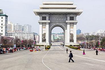 Street celebrations in front of the Arc of Triumph on the 100th anniversary of the birth of President Kim Il Sung, April 15th 2012, Pyongyang, Democratic People's Republic of Korea (DPRK), North Korea, Asia