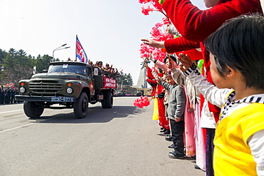 Military parade during street celebrations on the 100th anniversary of the birth of President Kim Il Sung, April 15th 2012, Pyongyang, Democratic People's Republic of Korea (DPRK), North Korea, Asia