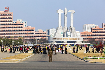 Monument to the Foundation of the Workers Party of Korea, Pyongyang, Democratic People's Republic of Korea (DPRK), North Korea, Asia