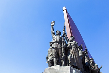 Mansudae Grand Monument depicting the Anti Japanese Revolutionary Struggle and Socialist Revolution and Construction, Mansudae Assembly Hall on Mansu Hill, Pyongyang, Democratic People's Republic of Korea (DPRK), North Korea, Asia