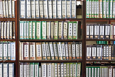 Book shelf, Grand People's Study House, Pyongyang, Democratic People's Republic of Korea (DPRK), North Korea, Asia