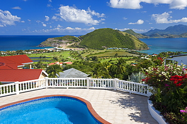 New luxury housing overlooking Frigate Bay on southeast peninsula, St. Kitts, Leeward Islands, West Indies, Caribbean, Central America