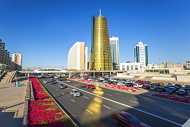 Twin golden conical business centres, Astana, Kazakhstan, Central Asia