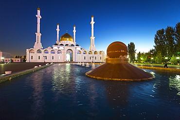 Nur Astana Mosque at dusk, Astana, Kazakhstan, Central Asia