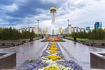 Nurzhol Bulvar, Central Boulevard and Bayterek Tower illuminated at night, Astana, Kazakhstan, Central Asia