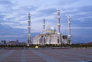 Hazrat Sultan Mosque, the largest in Central Asia, at dusk, Astana, Kazakhstan, Central Asia