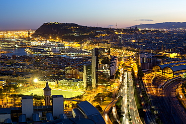 Elevated dusk view over Barcelona city centre, Catalunya (Catalonia) (Cataluna), Spain, Europe