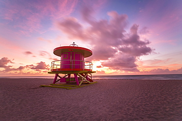 Art Deco style Lifeguard hut on South Beach, Ocean Drive, Miami Beach, Miami, Florida, United States of America, North America