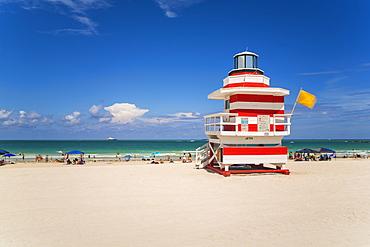 Art Deco style Lifeguard hut on South Beach, Ocean Drive, Miami Beach, Miami, Florida, United States of America, North America