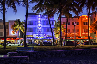 Art deco district, Ocean Drive, South Beach, Miami Beach, Miami, Florida, United States of America, North America