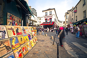 Cafe and street scene in Montmartre, Paris, France, Europe