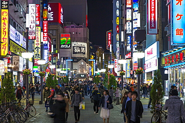 Kabukicho entertainment district illuminated at dusk, Shinjuku, Tokyo, Japan, Asia