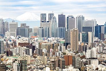Mount Fuji and the Shinjuku district skyscraper skyline, Tokyo, Japan, Asia