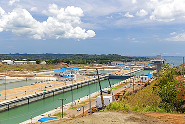 The new extension of the Panama Canal on the Atlantic side at Colon, Panama, Central America