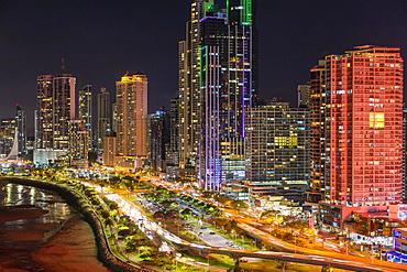 City skyline at night, Panama City, Panama, Central America