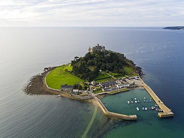 St. Michaels Mount, Marazion, Cornwall, England, United Kingdom, Europe (Drone)
