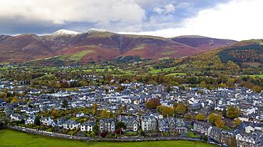 Keswick and Skiddaw beyond, Lake District National Park, UNESCO World Heritage Site, Cumbria, England, United Kingdom, Europe (Drone)