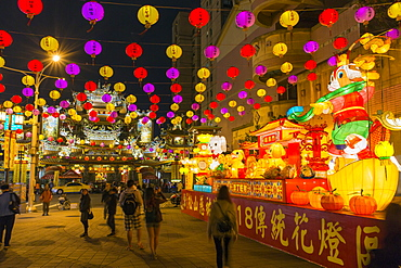 Street decorations outside Ciyou Temple, Songshan District, Taipei, Taiwan, Asia