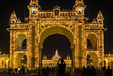City Palace, entrance gateway to the Maharaja's Palace, Mysore, Karnataka, India, Asia