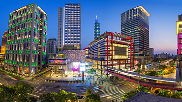 Xinyi downtown district, the prime shopping and financial district, Taipei, Taiwan, Asia