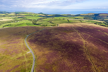 Aerial view over the moors, Exmoor National Park, Devon, England, United Kingdom, Europe