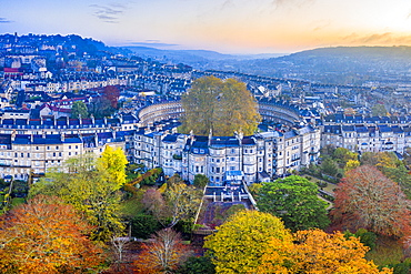 Aerial view by drone over the Georgian housing of The Circus, UNESCO World Heritage Site, Bath, Somerset, England, United Kingdom, Europe