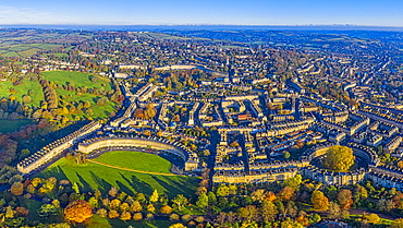 Aerial view by drone over the Georgian city of Bath, Royal Victoria Park and Royal Cresent, Bath, Somerset, England, United Kingdom, Europe
