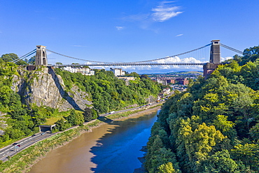 Aerial view over the Avon Gorge and Clifton Suspension Bridge, Bristol, England, United Kingdom, Europe