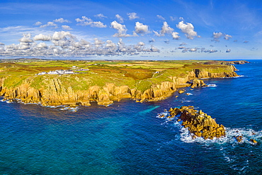 Aerial view of Land's End, Penwith peninsula, most westerly point of the English mainland, Cornwall, England, United Kingdom, Europe