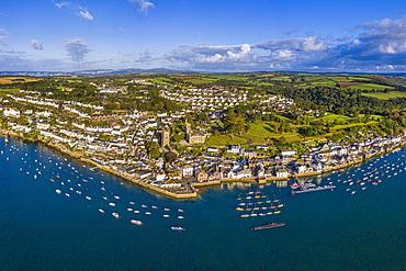 Aerial view over Fowey, Cornwall, England, United Kingdom, Europe